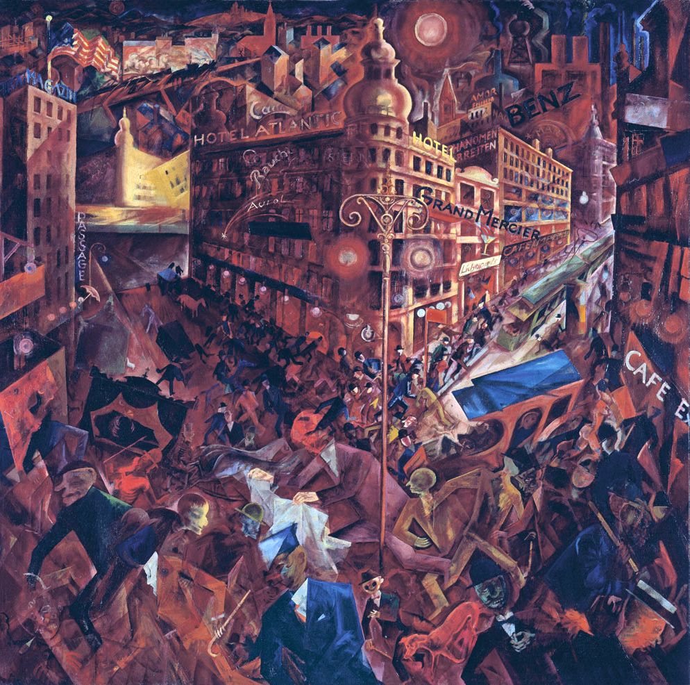 A painting of a busy city scene at night; cars and crowds mix together against a backdrop of cafes and hotels. The dominant colour is dark red.