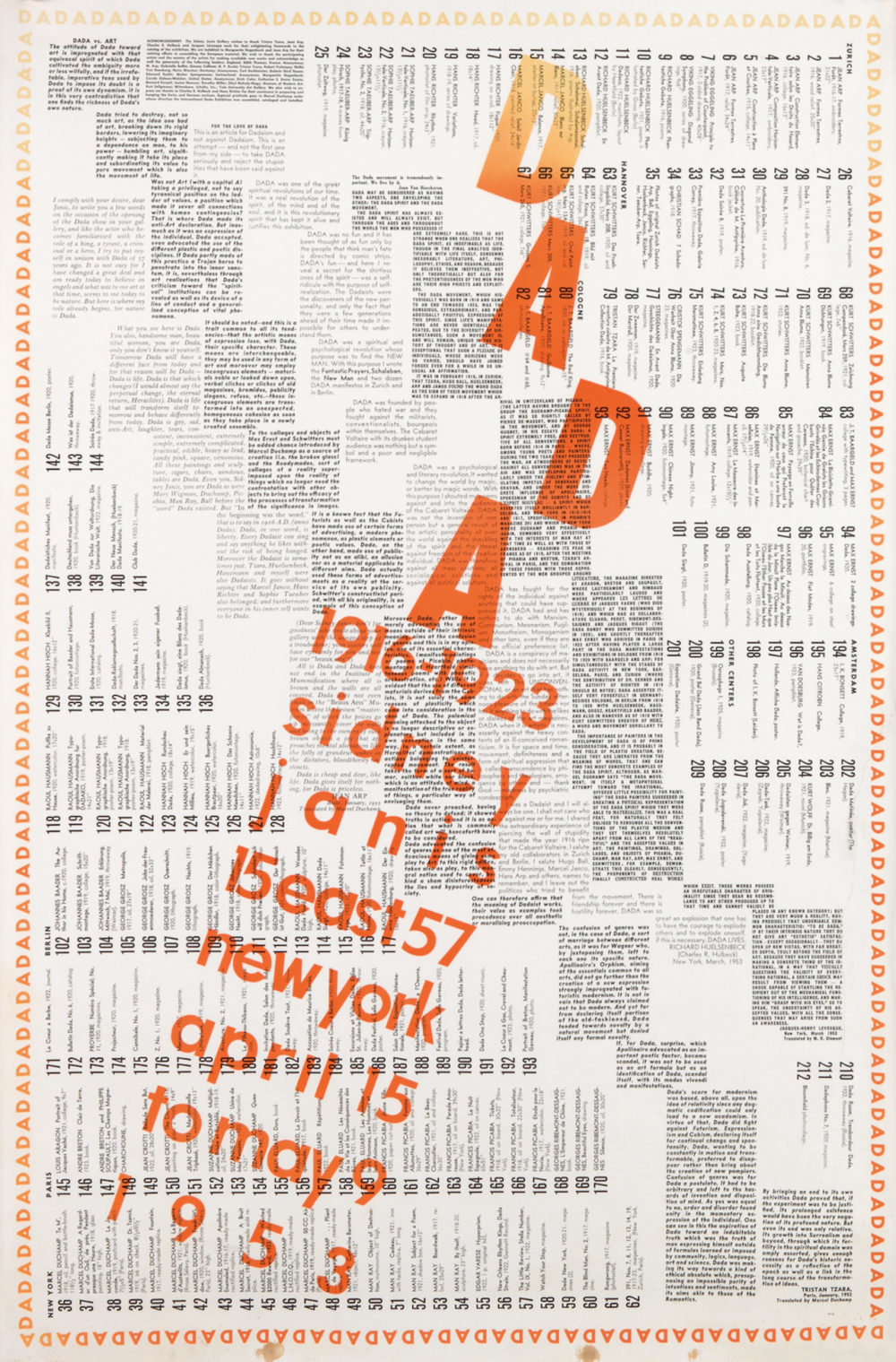 Front page of Dada catalogue with experimental typography