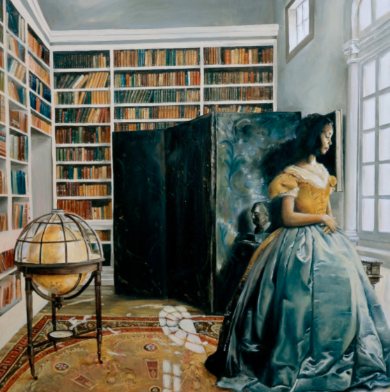 """The Library, oil on canvas, 36"""" x 36,"""" 2005. Vogue."""