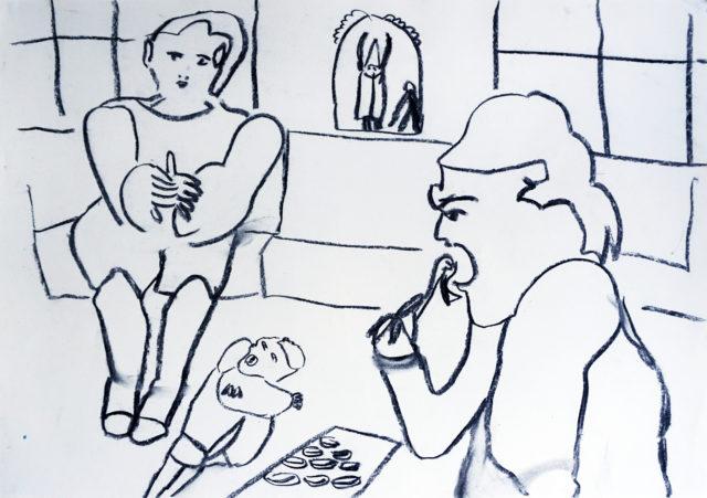 2011-Dada-Drawings-_-close-up-of-Huelsenbeck-impressing-elderly-at-Cafe-Sprüngli