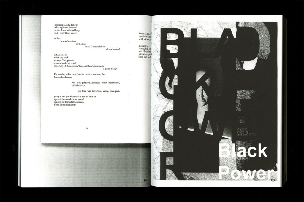 Photograph of open book (Pendleton's Black Dada Reader). On the left is text, on the right, a fragmented image with the words 'Black Power' visible