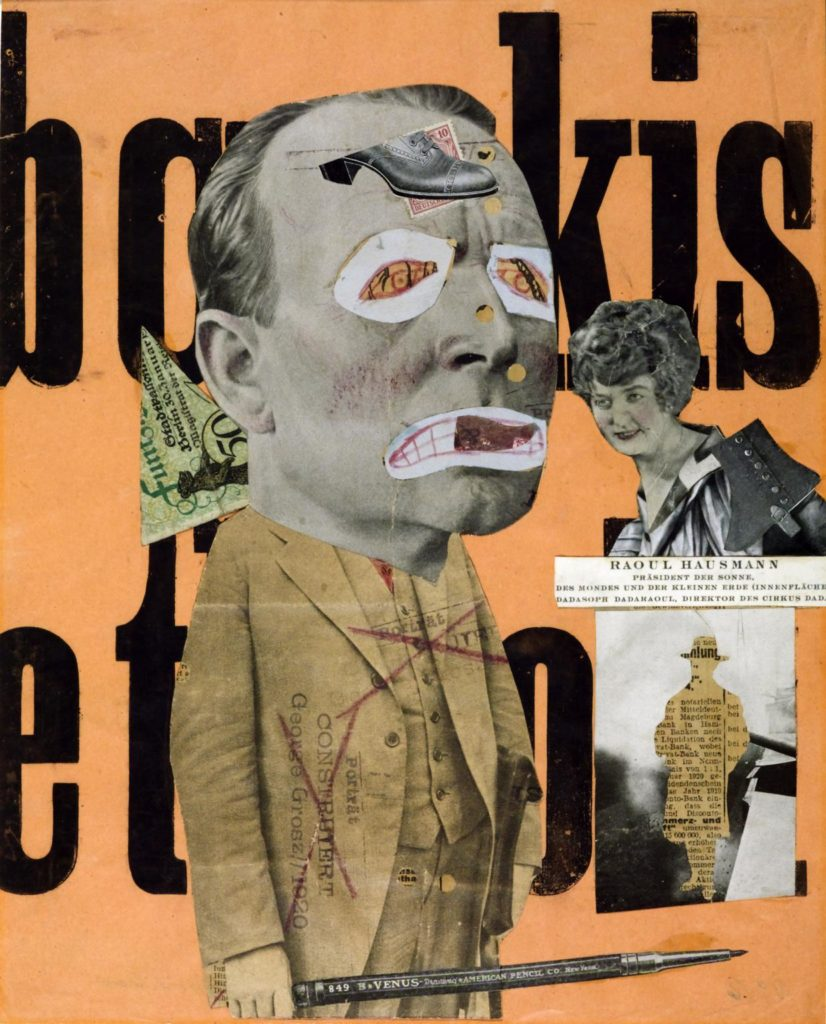 A collage with a central male figure, who has an oversized head and scribbled eyes and mouth. He is dressed in a suit and wields a large pen like a sword. Surrounding him is an image of an elegant woman, a cut-out silhouette of a man, a banknote and a backdrop with large letters.