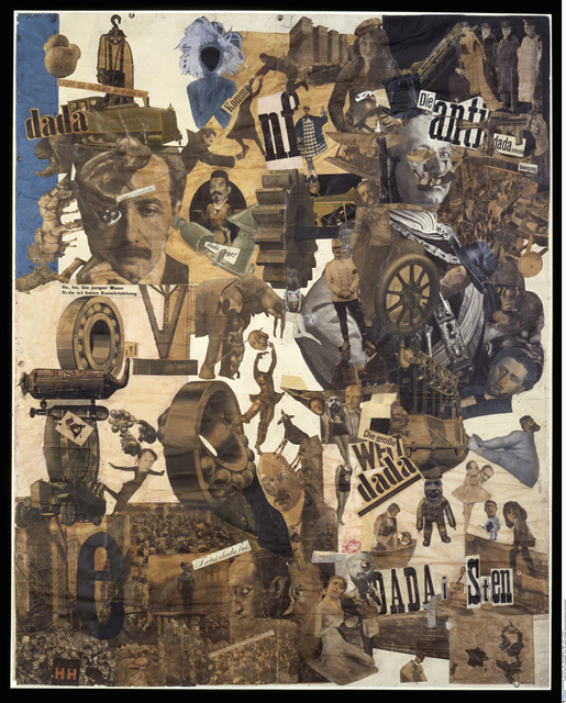 A large collage with Dada slogans (in German), photographs of various political leaders, philosophers, and cultural figures (including Karl Marx, Hannah Hoch herself, Kathe Kollwitz, and Kaiser Wilhelm II); there are also images of mass-produced machinery and crowds.