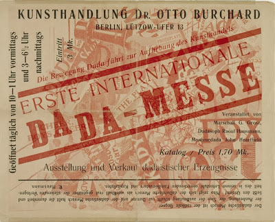 The catalogue invitation for the First International Dada Art Fair - Large text 'Dada-Messe' with other information around it, in German